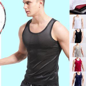 Мужские летние бак топы дышащие бегущие жилетки простые сплошные цветные тренажерный зал футболка мода мальчики спортивная одежда Tees азиатский размер 5 цветов