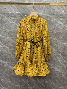 Australian logo dress 2021 Spring Summer with Belted Holiday Yellow Print Halfway Highneck Short Style