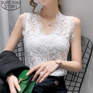 Summer Women Tank Top Lace Tank Sleeveless Tops Cardigan Slim V-neck Sexy Clothes Korean Bottoming Vest Blusas 13728 210528