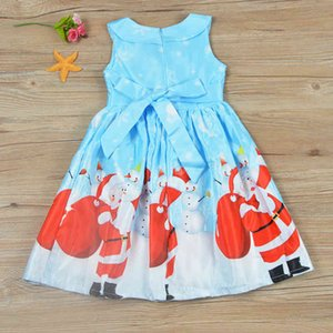Girl's Dresses Santa Print Girl Baby Casual Cartoon Vest Skirt Christmas Dress