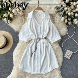 Women Korean Pleated Turndown-Collar Button Sashes Office Dresses Summer Fashion Streetwear A-line Short Dress 210415