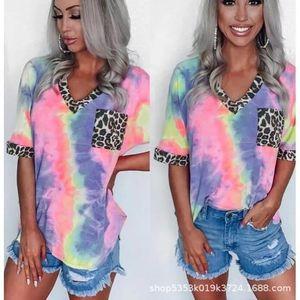 Women T Shirt Fashion Designers Tie Dye Rainbow Gradient Leopard Print Short Sleeve for Women Tees & Polos Matching Leggings and Dresses
