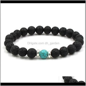 Charm Bracelets Jewelry Drop Delivery 2021 10 Colors Natural Black Lava Stone Beads Elastic Essential Oil Diffuser Bracelet Volcanic Rock Bea