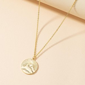Trendy Sunrise Sunset Round Pendant Necklace Hand Carved Creative Design Fashion Women Girl Daily Party Jewelry Gifts Necklaces