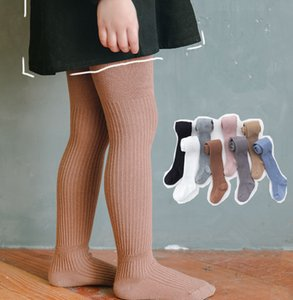 Kids Cotton Tights Girls vertical knitted princess leggings children pure color breathable bottom A6512