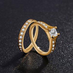 Luxury Womens 18K Yellow Gold Plated 3ct Diamond Ring Birthstone Jewelry Anniversary Gift Bridal Wedding Engagement Band Ring Set 1077 Q2