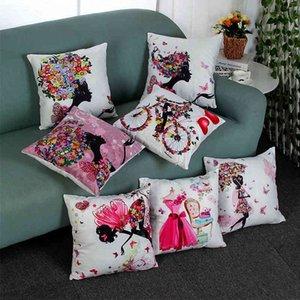 Xinze Home Professional Impresión digital Cátago de algodón Almohada Cojín de cintura Reposacabezas Bienvenido al pedido