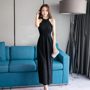 Korean Version Summer Fashion Jumpsuit Leaky Shoulder Hanging Neck Tie Sexy Bow Wide Leg Rompers Women's Jumpsuits &