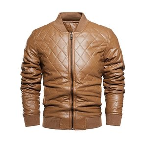 2021 Mens fashion lattice retro leather jacket autumn winter men's ticken windbreak warm coat stand collar cool jackets