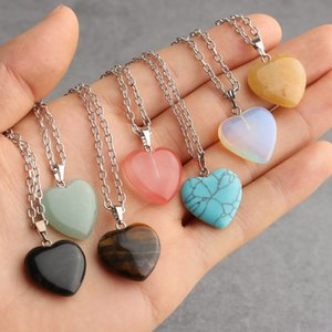 Jewelry Heart Hexagonal prism Turquoise Opal Natural Quartz Crystal Healing Chakra Stone Pendant Necklace for Women Gift Accessories