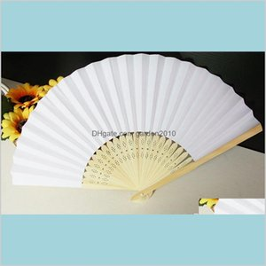 Party Favor Event & Supplies Festive Home Garden Selling 1000 Pcs Lot White Folding Elegant Paper Hand Fan Wedding&Party Favors 21Cm D