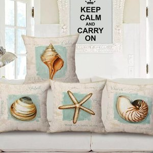 18'' Fashion Conch Printed Linen Pillow Case Cushion Cover Living Room Sofa Seat Guestroom Home Decoration