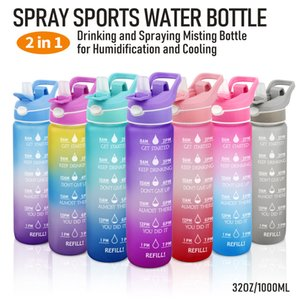 1L sublimation Leakproof Gradient Color 32oz-40oz Fashion Water Bottle with Motivational Time Marker Excercising colors Sprays Large capacity Plastic Sports