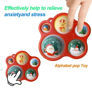 Christmas Fidget Toys Push Bubble Decompression Toy Children Adult Squeeze Sensory Stress Reliever Gift RRF11321