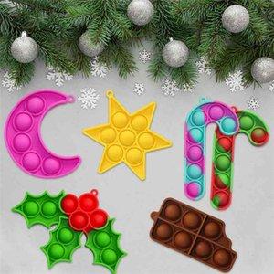 9pcs set Christmas Halloween Children's Fidget Toys Key Chain Poppers Xmas Tree Pendant Decompression Toy Desktop Educational Toy Gifts G97GTRN