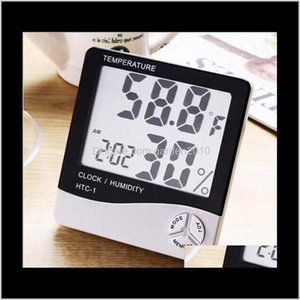 Htc1 Alarm Clockhumidity Digital Thermometer White Hygrothermograph Big Screen Indoor Thermometers Household Sundries Buipd 0Tyoq