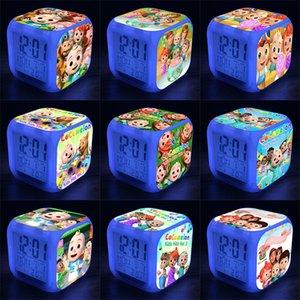 COCOMELON JI 7 LED-Farben wechselnd digitale Wecker Schreibtisch Gadget Thermometer Nacht glühende Cube LCD-Tischleuchte