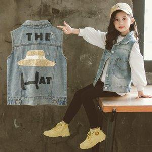 Vest Girls Denim Jackets 2021 Spring Coats Teen School Letter Print Children Outwear 6 8 10 Years Kids Clothes