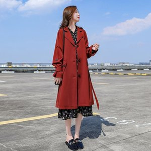 Red Elegant Casual British Style Women Trench Coat 2021 Spring Slim Single Breasted Outerwear Fashion Long Basic Coats Tide Women's