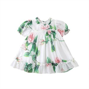 Girl's Dresses Baby Girls Casual Princess Clothes Kids Wear Summer Flower Short Sleeve Infant B4836