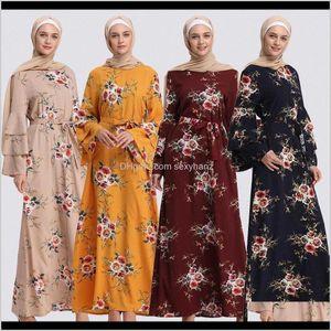 Ethnic Apparel Drop Delivery 2021 Muslim Print Abaya Flare Sleeve Dress Long Robe Gowns Tunic Kimono Ramadan Islamic Prayer Clothing Worship