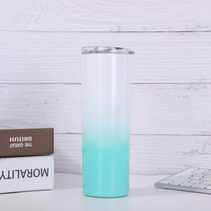 NEW 20oz skinny tumbler 20oz Color Changing skinny Stainless Steel straight Cylinder mugs with straw slid lid insulated water bottle 571 R2