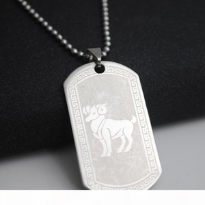 1 Aries stainless steel 12 twelve constellation sign necklace 12 Zodiac symbol amulet necklace Korean lucky 12 sign necklace jewelry