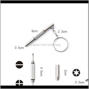 Screwdrivers Wholesale 3 In 1 Aluminum Steel Eyeglass Sunglass Watch Repair Kit With Keychain Portable Screwdriver Hand Tools Xk6Tw Kgh1F