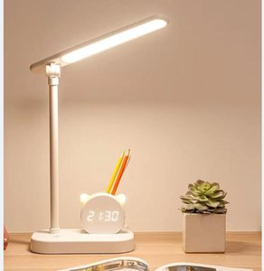 Table Lamps Creative pen holder desk light with clock eye protection student dormitory study bedside large capacity super long endurance lamp