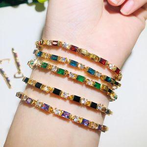 Link, Chain CWWZircons Trendy High Quality Red Purple Cubic Zircon Crystal Glitter Yellow Gold Bracelet For Women Jewelry CB206