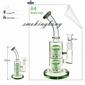9.8 inchs Double Arm Tree Perc Hookahs Shisha Green Glass Water Bongs Smoke Pipe Recycler Oil Rigs With 14mm banger