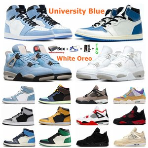 Mens University Blue 1s Jumpman 1 Basketball Shoes Black Cat 4 4s Hype Royal Shadow 2.0 Obsidian UNC Sail What The White Oreo Bred Sports Men Women Sneakers