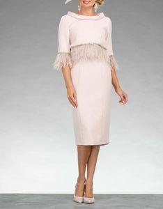Sheath   Column Mother of the Bride Dress Elegant Jewel Neck Knee Length Stretch Fabric Half Sleeve with Sash 2021 c072