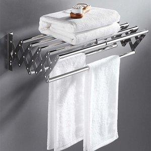 48-77 cm dobrável de aço inoxidável toalha de toalhas de toalhas de armazenamento suporte de parede expansão de toalha de toalha / prateleira de roupa