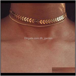 Chains Necklaces Pendants Drop Delivery 2021 Wholesale Fashion Fishbone Collarbone Double Layer Metal Alloy Golden Sier Sequined Short Neckla