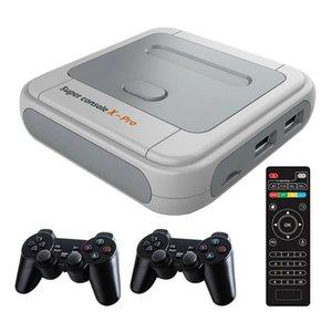 4K HDTV Super Console X Pro S905X HD Output Mini TV Video Game Player For PSP PS1 N64 DC Games Console Dual System Built-30000-in Games 64GB