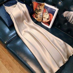Casual Dresses Summer Dress Women Elegant 2021 Sleeveless Plus Size Woman Satin Spaghetti Strap Ladies Vestidos 13115