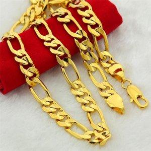 """سلاسل الذهب الخالص لون الرجال سلسلة قلادة مجوهرات مطلي 24 كيلو 10 ملليمتر الثقيلة فيجارو لمدة 24 """""""