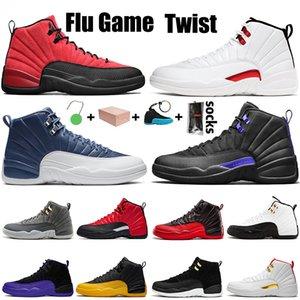 2021 مع صندوق تويست Nike Air Jordan Retro 12 jumpman 1212s رجل كرة السلة أحذية الرجعية الظلام توكك تاكسي جامعة الذهب عكس المدربين الرياضة أحذية رياضية الحجم 13