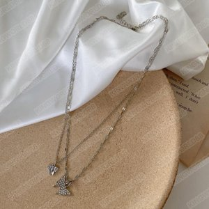 Double layer flash diamond butterfly necklace female simple design sense temperament ins cold wind clavicle chain