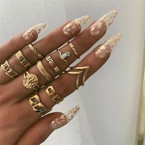 Cluster Rings WUKALO Boho Vintage Gold Star Knuckle For Women Crystal Crescent Geometric Female Finger Set Jewelry