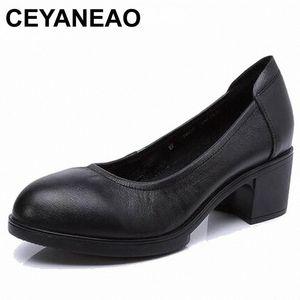 CEYANEAO 2019 Genuine leather women high heels pumps female OL COMFORTABLE black work shoes 34-41E1927 26Ce#