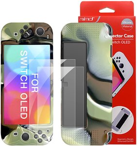 Dockable Case for New Nintendo Switch OLED Model with 2 Pieces Screen Protector Film TPU Shock Absorption Anti-Scratch Protective Cover Game Accessories-Camouflage