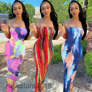 Women Casual Dresses 2021 spring and summer new Designer Fashion large women's colorful tie dyed off shoulder breast wrapped dress Long skirt