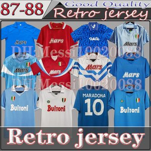 Tributo clássico para Maradona Napoli Retro Soccer Jersey Mertens Zielinski 1986 1987 1988 1989 1990 1991 1992 1993 Nápoles Camisa de futebol vintage