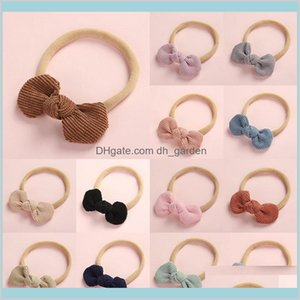 Jewelry Kids Baby Bows Headbands Nylon Super Soft Elastic Hairbands Stretchy Corduroy Head Band Headwear Girls Hair Accessories Drop D