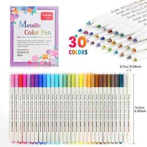 10-30 Colors Acrylic Art Paint Marker Pens Soft Brush Metallic Markers Pens Card Making Crafts Art Rock Painting Glass Art Pen 210902