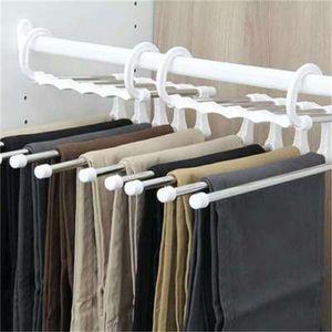 Multi-functional black white folding Pants rack trousers shelves 5 in 1 Stainless Steel Wardrobe Magic Hanger