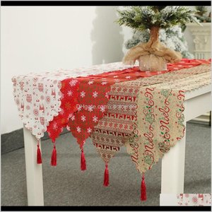 Cloths Textiles & Garden Drop Delivery 2021 Decoration Linen Printed Tablecloth Placemat Home Table Runner Christmas Decorations Wv8S3