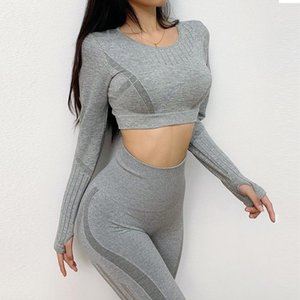 Women Vital Seamless Yoga Set 2pcs Sport Suit Workout Clothes Long Sleeve Gym Crop Top High Waist Leggings Fitness Sports Wear wmtGYy